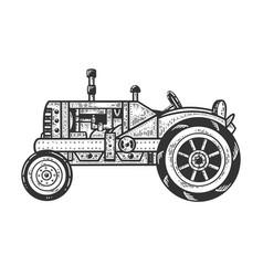 Old tractor sketch vector