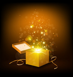 open golden box vector image