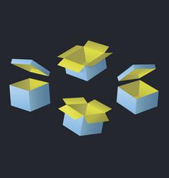 opened blue cardboard box vector image
