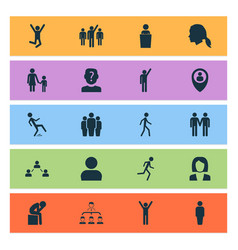 person icons set with leader jogging anonymous vector image