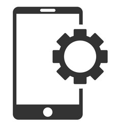 Phone setup gear flat icon vector