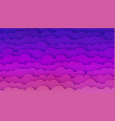 pink and blue clouds bg with papercut effect vector image