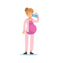 Pregnant woman drinking milk pregnancy female vector