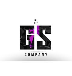 Purple black alphabet letter gs g s logo vector