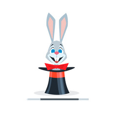 rabbit with a red bow sits in a hat cylinder vector image