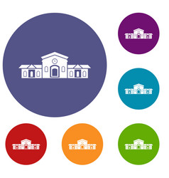 Railway station building icons set vector