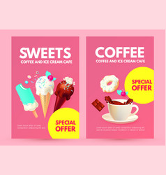 realistic 3d ice cream flyers set with coffee cup vector image