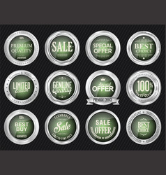 retro vintage sale silver and green badges and vector image