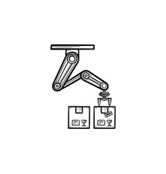 Robotic arm picking cardboard box hand drawn vector