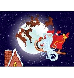 Santa Riding Christmas Sleigh at Night5 vector image