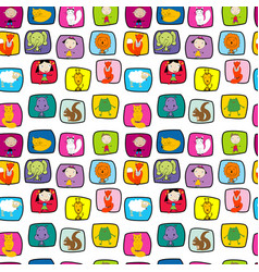 seamless pattern with animals and kids in doodle vector image