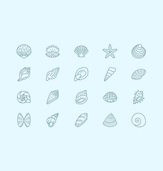 seashell oyster scallop line icons vector image