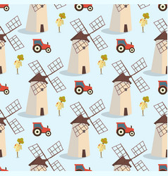 set image pattern windmills and tractors vector image