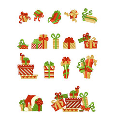 set of cartoon festive gifts vector image