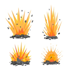 Set of cartoon ground explosions vector