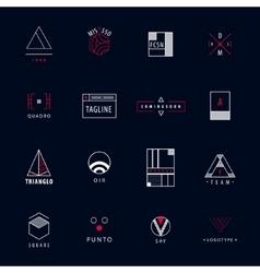 set of minimal geometric hipster logos vector image
