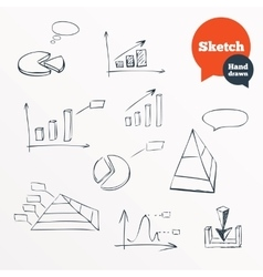 Sketched chart of sales Hand drawn diagram vector image