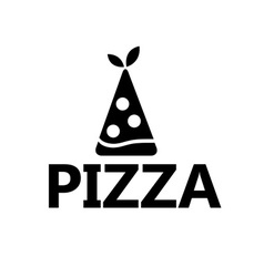 slice of pizza with leaves design template vector image
