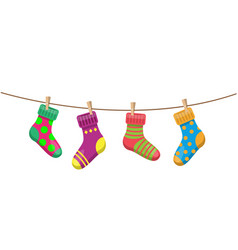socks hang on a rope vector image