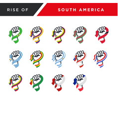 Spirit rising fist hand south america flag vector