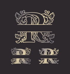 split letters split monogram font split alphabet vector image