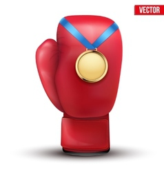Sport gold medal with ribbon for winning boxing vector