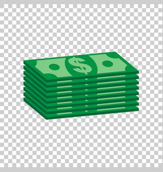 stacks of dollar cash in flat design on isolated vector image