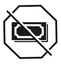 stop bribery money icon simple style vector image