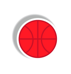 Stylish icon in paper sticker style basketball vector