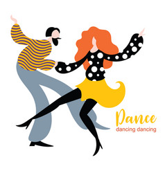 stylized figures dancing woman and man vector image