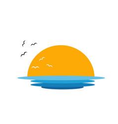 Sun over sea vector