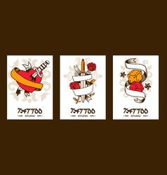 Tattoo studio banners vector