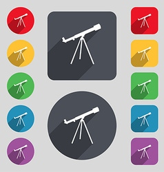 Telescope icon sign A set of 12 colored buttons vector image