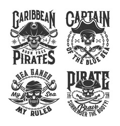 Tshirt prints with pirate skull mascot in tricorn vector