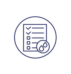 Urine test results line icon on white vector