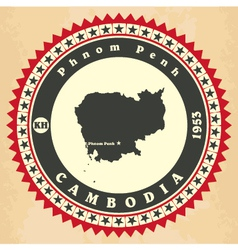 Vintage label-sticker cards of Cambodia vector image