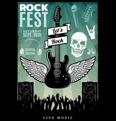 Vintage rock music fest template vector