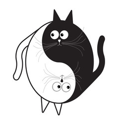 White and black cute funny cartoon cat Yin Yang vector