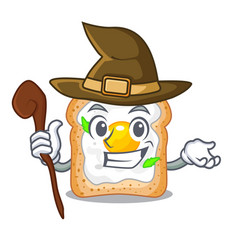 Witch sandwich with egg above character board vector