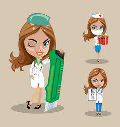 Woman doctor or nurse in a set of three vector