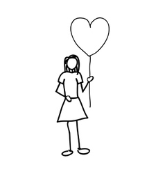 Woman holding heart balloon cartoon icon image vector
