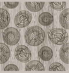 wooden bark circles beige seamless pattern vector image