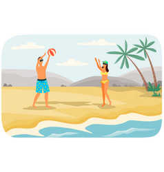 young couple is throwing ball to each other on vector image