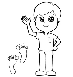 kid with paw print Coloring Page vector image vector image