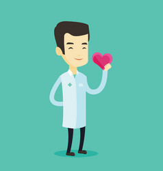 Doctor cardiologist holding heart vector