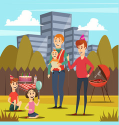 fathers and kids orthogonal composition vector image