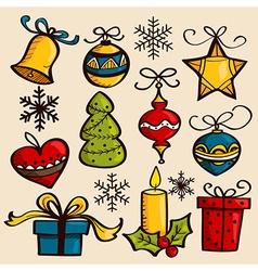 Hand drawn Christmas ornaments vector image vector image