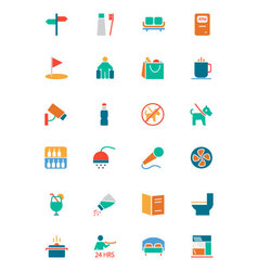 Hotel and Restaurant Colored Icons 7 vector image vector image