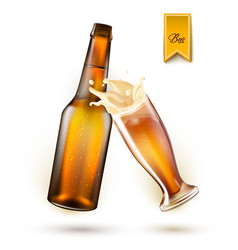 realistic beer bottle splashing from glass vector image