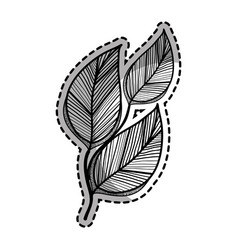 Rustic branch leaves decoration vector